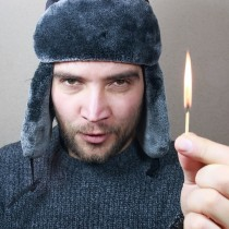 man holding match